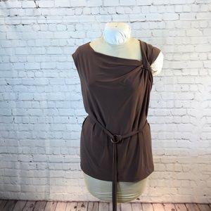 NWT Coldwater Creek brown sleeveless tunic w belt
